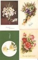 LOT 01 - 80 Cartes CPA , GREETINGS , FLOWERS , PERIOD 1920-1970 - Postkaarten