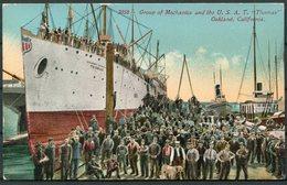 "Group Of Mechanics And The U.S.A.T. ""THOMAS"", Oakland California. Ship Postcard. Trans-Siberian Railway, Emerson Corps. - Steamers"