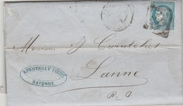 Yvert 60A Entête Apesteguy Armateurs Lettre BAYONNE Basses Pyrénées 25/10/1872 GC 359 à Lanne Par Aramits Via Pau - 1849-1876: Période Classique