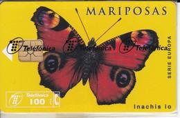 TARJETA DE ESPAÑA DE UNA MARIPOSA PAVO REAL (BUTTERFLY) NUEVA-MINT - Mariposas