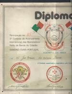 MILITARIA PORTUGAL DIPLOMA BOMBEIROS VOLUNTARIOS ( POMPIERS ) DE ESMORIZ OVAR CRUZ DE CRISTO PLIE VEND EN ETAT : - Pompiers
