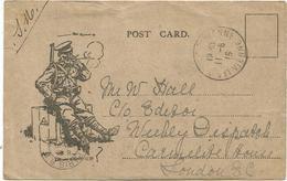 POST CARD MILITAIRE ENGLAND  QUI FUME POSTEE HOPITAL DESORMES S VIENNE 11.6.1915 POUR LONDON - Marcofilie (Brieven)