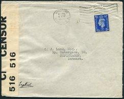 1939 GB Bradford Censor Cover - Copenhagen Denmark. - 1902-1951 (Rois)