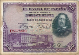 Banconota Da 50  Pesetas  EL BANCO DE ESPANA   - Anno  1928. - [ 1] …-1931 : Prime Banconote (Banco De España)