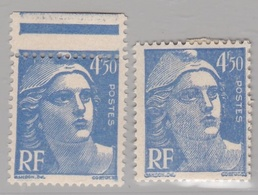 FRANCE :  Marianne De Gandon 718 A  Neuf XX Variété Piquage à Cheval  Avec Normal - Abarten: 1941-44 Ungebraucht