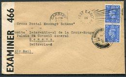 1942 GB Cardiff Red Cross Postal Message Scheme Censor Airmail Cover - Geneva Switzerland - 1902-1951 (Rois)