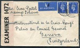 GB Red Cross Postal Message Scheme Censor Airmail Cover - Geneva Switzerland - 1902-1951 (Rois)