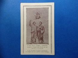 SANTINO HOLY CARD 1930 CARTOLINA FORMATO PICCOLO SANTI MEDICI COSMA E DAMIANO E VERGINE SANITA' COSENZA - Saints