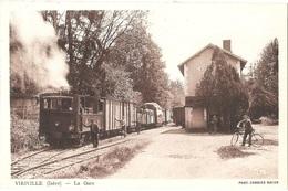 Dépt 38 - VIRIVILLE - La Gare - (train, Tramway, Locomotive N° 13) - Éditeur : CIM - Viriville