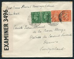 1942 GB Daventry Red Cross Postal Message Scheme Censor Airmail Cover - Geneva Switzerland - 1902-1951 (Rois)