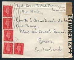 1941 GB Hampshire Red Cross Postal Message Scheme Censor Airmail Cover - Geneva Switzerland - 1902-1951 (Rois)