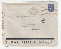 F. Bachtold Paris Company Letter Cover Posted 1941 To Chemnitz - Censored B200210 - Lettres & Documents