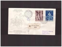 Vaticano-8-5-1951-fdc-proclamazione-dogma-assunta-viaggiata-con-raccomandata - FDC