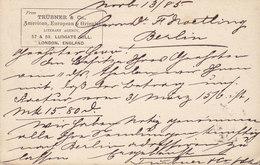 Great Britain UPU Postal Stationery Ganzsache Entier PRIVATE Print TRÜBNER & Co. Literary Agency LONDON 1885 BERLIN - Briefe U. Dokumente