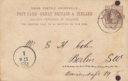 Great Britain UPU Postal Stationery Ganzsache Entier HERRMANN KELLER & Co., LONDON 1888 BERLIN Germany - Briefe U. Dokumente
