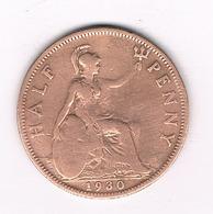 HALF PENNY 1930  GROOT BRITANNIE /1062// - C. 1/2 Penny