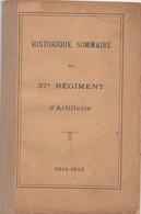 HISTORIQUE 37 REGIMENT ARTILLERIE GUERRE 1914 1918 BOURGES - 1914-18