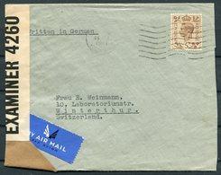 1941 GB Discombe Pitcairn, Oakwood Grove, Horbury, Wakefield, 5d Rate Airmail Censor Cover - Winterthur Switzerland. - 1902-1951 (Rois)