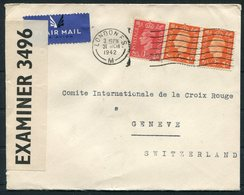 1942 GB London Censor Airmail Cover - Red Cross, Geneva Switzerland - 1902-1951 (Rois)