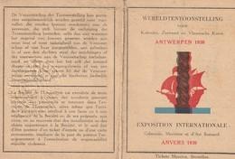 Belgique  Anvers EXPO  1930  Carte Abonnement Pour L'expo - Abonnementskaart Voor De Expo Nr A51441 - Tickets D'entrée