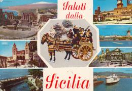 85232- SICILY- DIFFERENT TOWNS, RUINS, CASTLE, THEATRE, SHIP - Italië