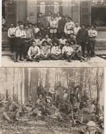 2 CARTE PHOTO:MILITAIRES À LA SOUPE SOUVENIR DES MANŒUVRES 1931 1928 CAMP DE BITCHE (57) - Bitche