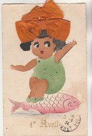 Cpa    1er Avril Fillette Sur Un Poisson ,ruban En Soie - 1° Aprile (pesce Di Aprile)