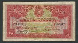 MOZAMBIQUE  1/2 POUND  1934 PIK- R30 COMPANHIA DE MOZAMBIQUE  F++ - Mozambique