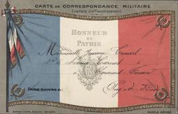CP Franchise Militaire Drapeau France Honneur Et Patrie Correspondance Militaire 22 1 15 Petit Texte Guerre 14 - Marcophilie (Lettres)