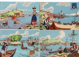 LOT  13 CP - Illustrateur - M. Barré & J. Dayez - Série Les Ports - Illustrators & Photographers