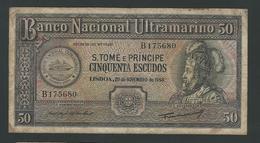SAO TOMÉ  & PRINCIPE   50 ESCUDOS 1958  F - Sao Tome And Principe