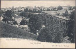 AK Gruss Aus Ebersbach, Neue Hain Schule, Löbau-Ebersbacher Viaduct, Ungel. - Ebersbach (Löbau/Zittau)