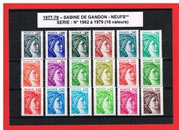 1977-78 - SABINE DE GANDON - NEUFS** - N° 1962 à 1979 - COTE Y & T : 11.00 Euros - France