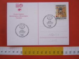 A.13 ITALIA ANNULLO 1996 TRECATE NOVARA MOSTRA FILATELICA STEMMA PONTE CANE AQUILA DOG BRIDGE BIRD UCCELLO CARD ARALDICA - Cani