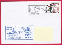 3948 Marine, PH Jeanne D'Arc, Campagne 2000-2001, Escale à Cochin, Inde, Oblit. Mécanique JDA, 09-04-2001, Championnats - Posta Marittima