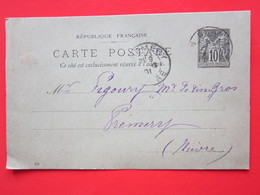 Carte Postale écrite FACTEUR à CHAMPLEMY (58) Oblitéré CHAMPLEMY & PREMERY (58) 9/03/1901 Timbre Entier Type SAGE 10 - Cartes Postales Types Et TSC (avant 1995)