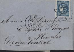 YT 45 Cérès Emission De Bordeaux 20 Ct Bleu Bonne Marge Seul Sur Lettre CAD Angers 9 Janv 1871 49 Maine Et Loire - Marcophilie (Lettres)
