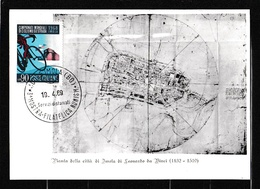 1969 Italia Italy Repubblica PIANTA DELLA CITTA' DI IMOLA DI LEONARDO DA VINCI Cartolina N.14, 450° Morte, 90L Ciclismo - 6. 1946-.. Republic