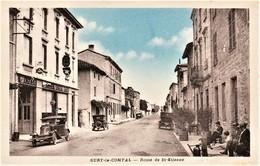 Rare Cpa Sury-le-Comtal Route De St-Etienne Garage Citroën Pub Michelin Vieux Tacots Animée - France