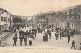 Rare Cpa Panissières Place De La Liberté Fête De St-jean Très Animée - Altri Comuni