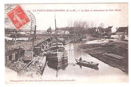 Péniches à  La Ferté Sous Jouarre (77 - Seine Et Marne) Le Quai Et Embouchure Du Petit Morin - Péniches