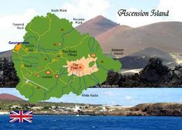 Ascension Island Map New Postcard Landkarte AK - Ansichtskarten