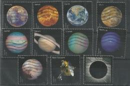 USA Planets Of Solar System + Pluto + Solar Eclipse + New Horizons - Cpl 11v Set Used - Verenigde Staten