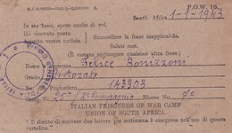 PRIGIONIERI DI GUERRA, ITALIAN PRISONERS OF WAR CAMP. POSTAL CIRCULATED 1943 SOUTH AFRICA TO MILANO, ITALY -LILHU - Non Classés
