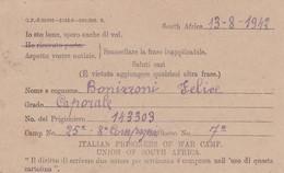 PRIGIONIERI DI GUERRA, ITALIAN PRISONERS OF WAR CAMP. POSTAL CIRCULATED 1942 SOUTH AFRICA TO MILANO, ITALY -LILHU - Non Classés