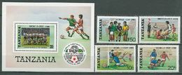 Tanzania 1986 Football Soccer World Cup Set Of 4 + S/s MNH - Coupe Du Monde