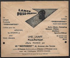 Cheque Cover France Paris Lamp,Car,Motorcycle,Camping,Light,hunting,chèques Postaux.CCP. - Publicités