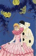 Attribué G Meschini Couple Pierrot Colombine Lampions Ars Nova - Künstlerkarten