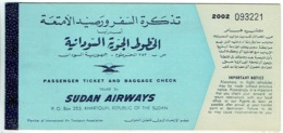 Billet/Ticket Avion. Sudan Airways. KhartoumAtbara/Khartoum. 1962. - Billets D'embarquement D'avion