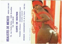 Calendrier Erotique. Femme Nue. Carte De Soutien. 1984. Réalistes De Mexico. Rue E. Delva, 1020 Bruxelles. - Petit Format : 1981-90